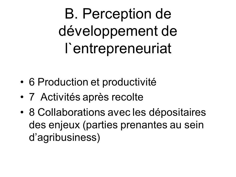 B. Perception de développement de l`entrepreneuriat 6 Production et productivité 7 Activités après recolte 8 Collaborations avec les dépositaires des