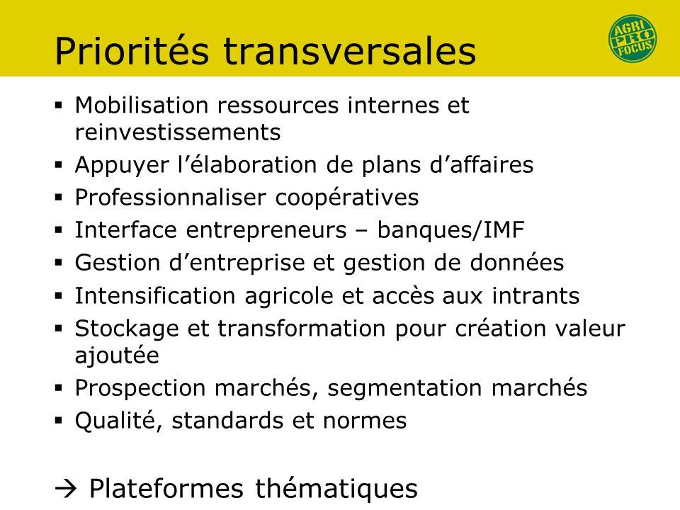 Priorités transversales Mobilisation ressources internes et reinvestissements Appuyer lélaboration de plans daffaires Professionnaliser coopératives I