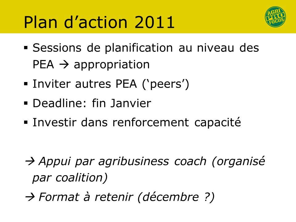 Plan daction 2011 Sessions de planification au niveau des PEA appropriation Inviter autres PEA (peers) Deadline: fin Janvier Investir dans renforcemen