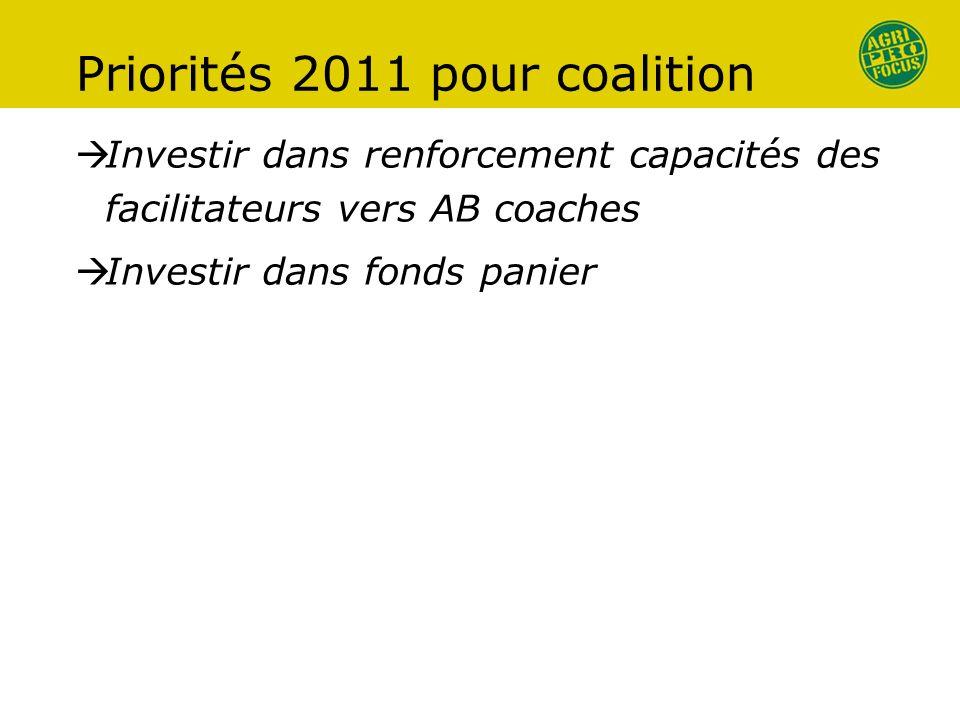 Priorités 2011 pour coalition Investir dans renforcement capacités des facilitateurs vers AB coaches Investir dans fonds panier