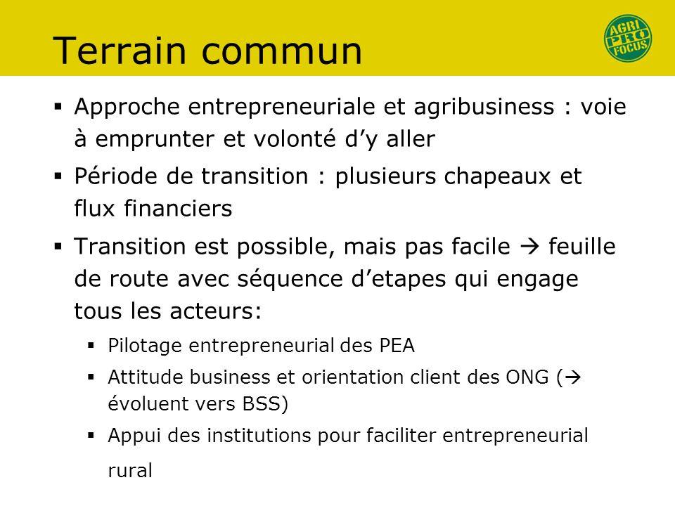 Terrain commun Approche entrepreneuriale et agribusiness : voie à emprunter et volonté dy aller Période de transition : plusieurs chapeaux et flux fin