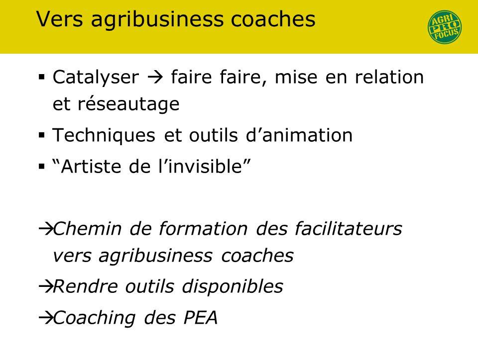 Vers agribusiness coaches Catalyser faire faire, mise en relation et réseautage Techniques et outils danimation Artiste de linvisible Chemin de format