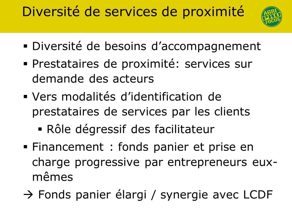 Diversité de services de proximité Diversité de besoins daccompagnement Prestataires de proximité: services sur demande des acteurs Vers modalités did