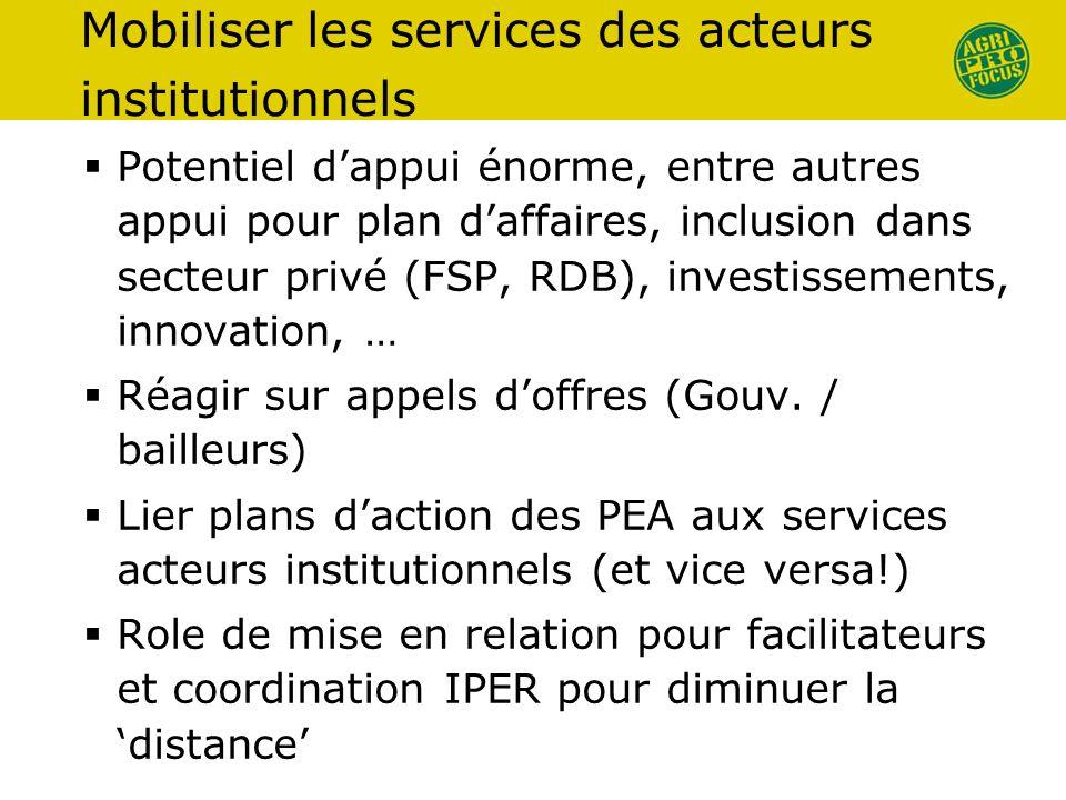 Mobiliser les services des acteurs institutionnels Potentiel dappui énorme, entre autres appui pour plan daffaires, inclusion dans secteur privé (FSP, RDB), investissements, innovation, … Réagir sur appels doffres (Gouv.