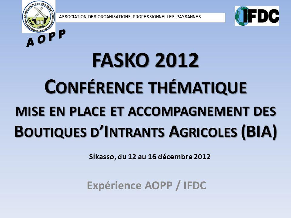 FASKO 2012 C ONFÉRENCE THÉMATIQUE MISE EN PLACE ET ACCOMPAGNEMENT DES B OUTIQUES D I NTRANTS A GRICOLES (BIA) Expérience AOPP / IFDC Sikasso, du 12 au