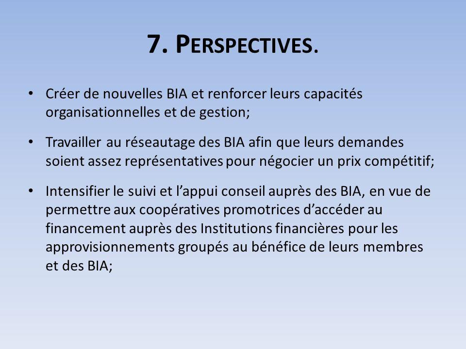 7. P ERSPECTIVES. Créer de nouvelles BIA et renforcer leurs capacités organisationnelles et de gestion; Travailler au réseautage des BIA afin que leur