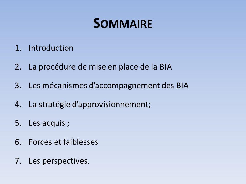 S OMMAIRE 1.Introduction 2.La procédure de mise en place de la BIA 3.Les mécanismes daccompagnement des BIA 4.La stratégie dapprovisionnement; 5.Les a