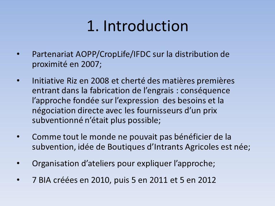 1. Introduction Partenariat AOPP/CropLife/IFDC sur la distribution de proximité en 2007; Initiative Riz en 2008 et cherté des matières premières entra