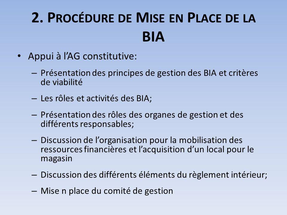 2. P ROCÉDURE DE M ISE EN P LACE DE LA BIA Appui à lAG constitutive: – Présentation des principes de gestion des BIA et critères de viabilité – Les rô