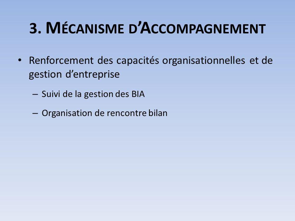 3. M ÉCANISME D A CCOMPAGNEMENT Renforcement des capacités organisationnelles et de gestion dentreprise – Suivi de la gestion des BIA – Organisation d