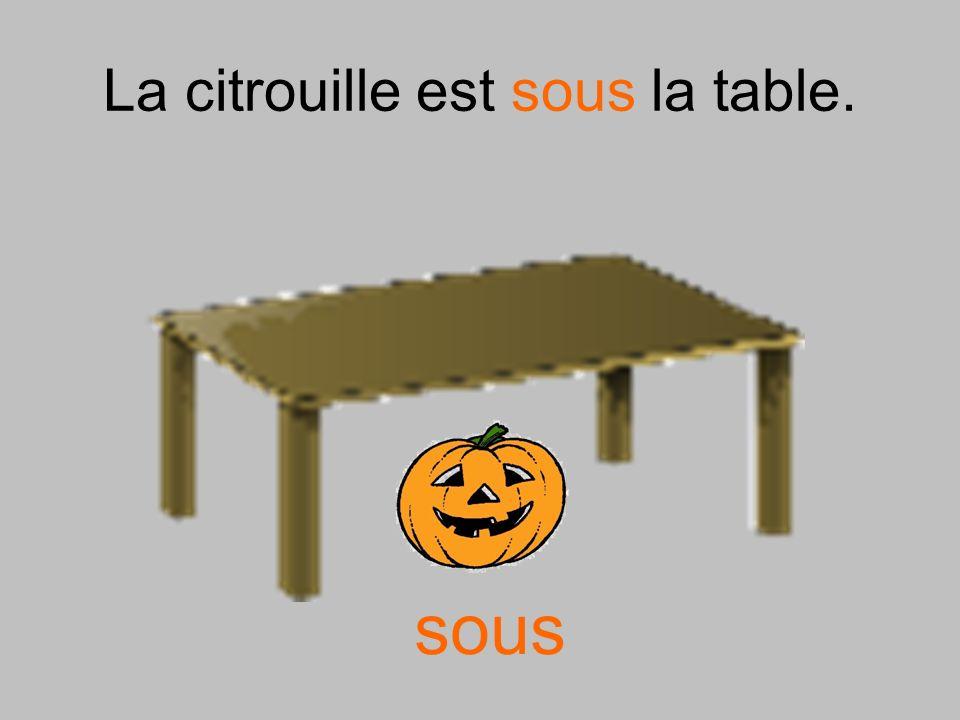 La citrouille est sous la table. sous