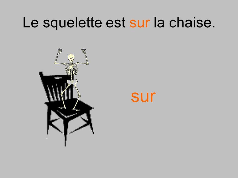 Le squelette est sur la chaise.