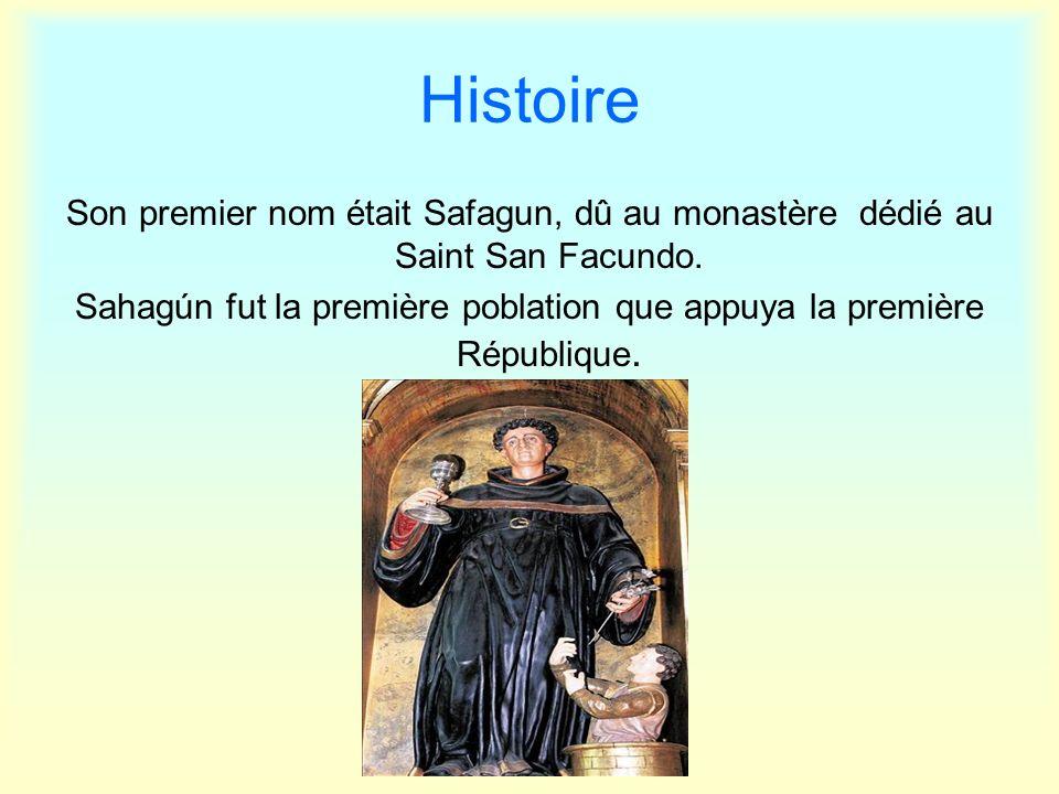 Histoire Son premier nom était Safagun, dû au monastère dédié au Saint San Facundo. Sahagún fut la première poblation que appuya la première Républiqu