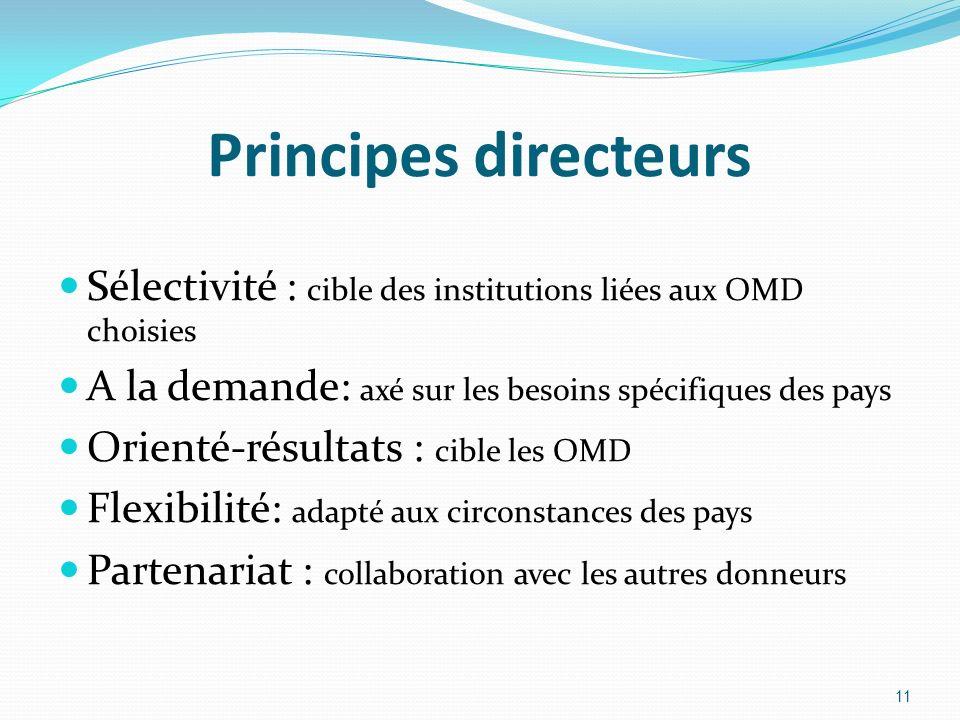 Principes directeurs Sélectivité : cible des institutions liées aux OMD choisies A la demande: axé sur les besoins spécifiques des pays Orienté-résult