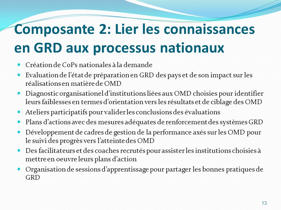 Composante 2: Lier les connaissances en GRD aux processus nationaux Création de CoPs nationales à la demande Evaluation de létat de préparation en GRD