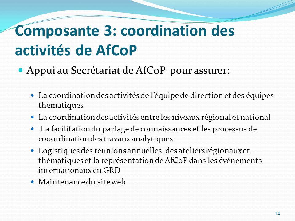 Composante 3: coordination des activités de AfCoP Appui au Secrétariat de AfCoP pour assurer: La coordination des activités de léquipe de direction et