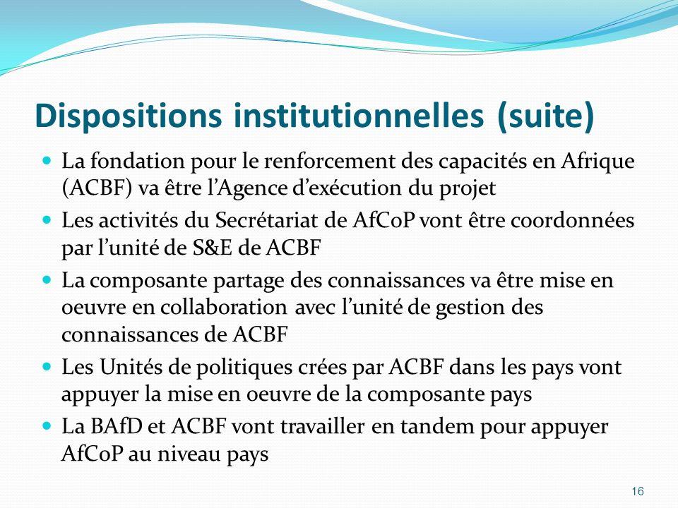 Dispositions institutionnelles (suite) La fondation pour le renforcement des capacités en Afrique (ACBF) va être lAgence dexécution du projet Les acti