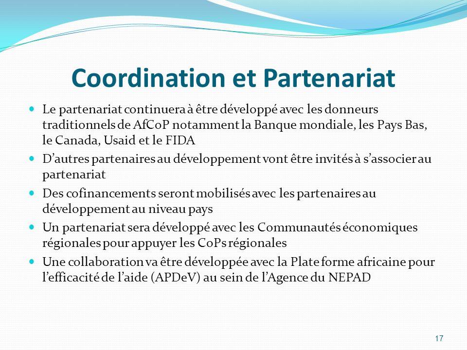 Coordination et Partenariat Le partenariat continuera à être développé avec les donneurs traditionnels de AfCoP notamment la Banque mondiale, les Pays Bas, le Canada, Usaid et le FIDA Dautres partenaires au développement vont être invités à sassocier au partenariat Des cofinancements seront mobilisés avec les partenaires au développement au niveau pays Un partenariat sera développé avec les Communautés économiques régionales pour appuyer les CoPs régionales Une collaboration va être développée avec la Plate forme africaine pour lefficacité de laide (APDeV) au sein de lAgence du NEPAD 17