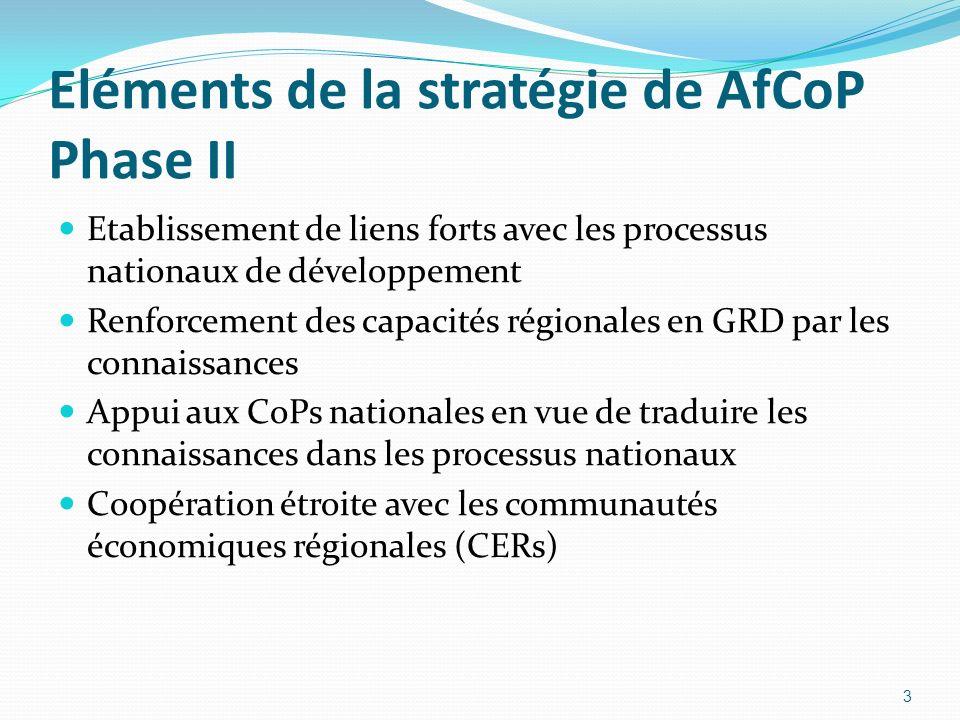 Eléments de la stratégie de AfCoP Phase II Etablissement de liens forts avec les processus nationaux de développement Renforcement des capacités régio