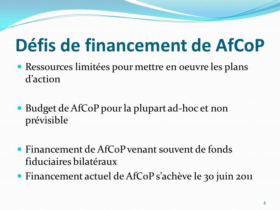Défis de financement de AfCoP Ressources limitées pour mettre en oeuvre les plans daction Budget de AfCoP pour la plupart ad-hoc et non prévisible Financement de AfCoP venant souvent de fonds fiduciaires bilatéraux Financement actuel de AfCoP sachève le 30 juin 2011 4