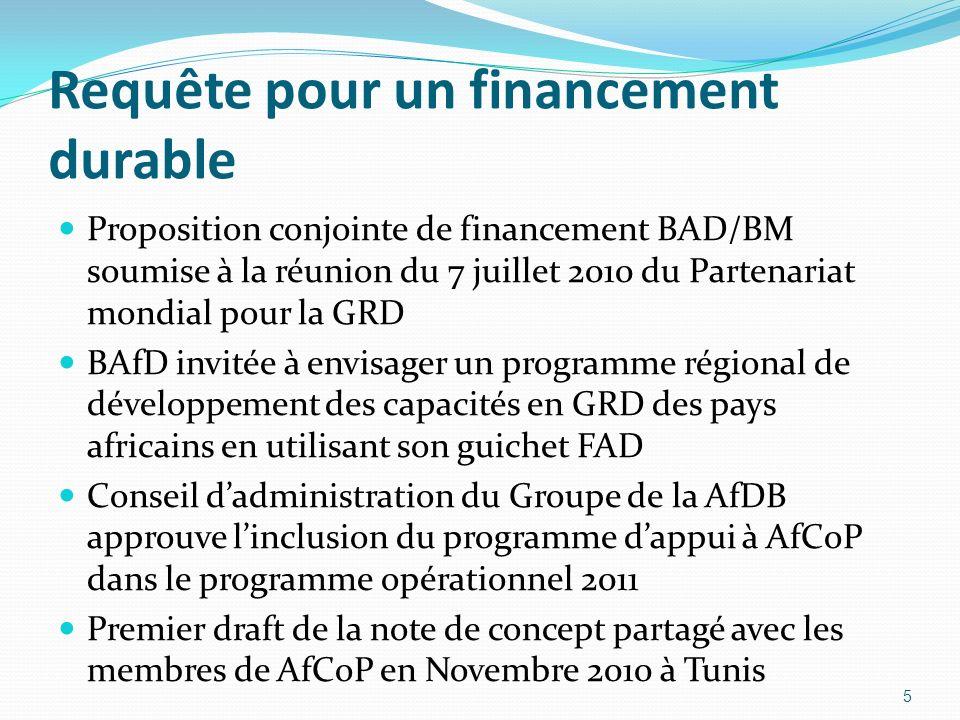 Requête pour un financement durable Proposition conjointe de financement BAD/BM soumise à la réunion du 7 juillet 2010 du Partenariat mondial pour la GRD BAfD invitée à envisager un programme régional de développement des capacités en GRD des pays africains en utilisant son guichet FAD Conseil dadministration du Groupe de la AfDB approuve linclusion du programme dappui à AfCoP dans le programme opérationnel 2011 Premier draft de la note de concept partagé avec les membres de AfCoP en Novembre 2010 à Tunis 5