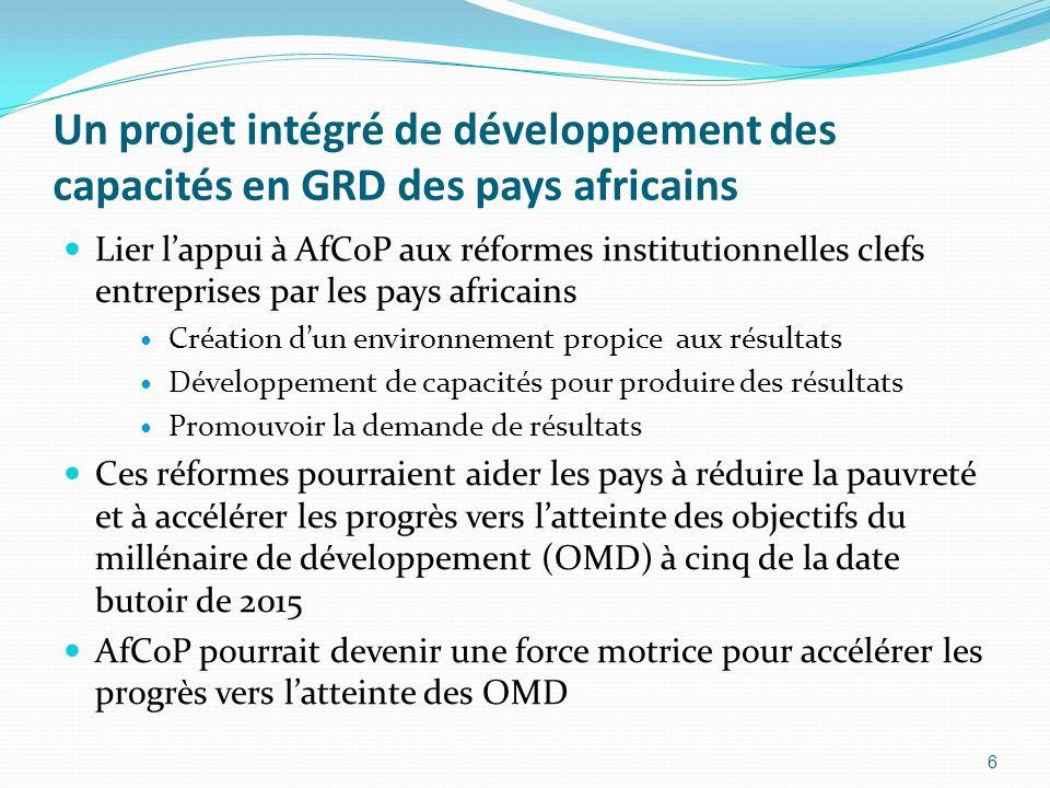 Un projet intégré de développement des capacités en GRD des pays africains Lier lappui à AfCoP aux réformes institutionnelles clefs entreprises par les pays africains Création dun environnement propice aux résultats Développement de capacités pour produire des résultats Promouvoir la demande de résultats Ces réformes pourraient aider les pays à réduire la pauvreté et à accélérer les progrès vers latteinte des objectifs du millénaire de développement (OMD) à cinq de la date butoir de 2015 AfCoP pourrait devenir une force motrice pour accélérer les progrès vers latteinte des OMD 6
