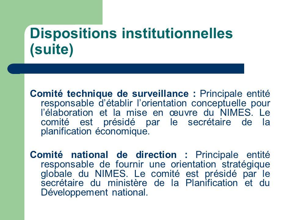 Dispositions institutionnelles (suite) Comité technique de surveillance : Principale entité responsable détablir lorientation conceptuelle pour lélabo