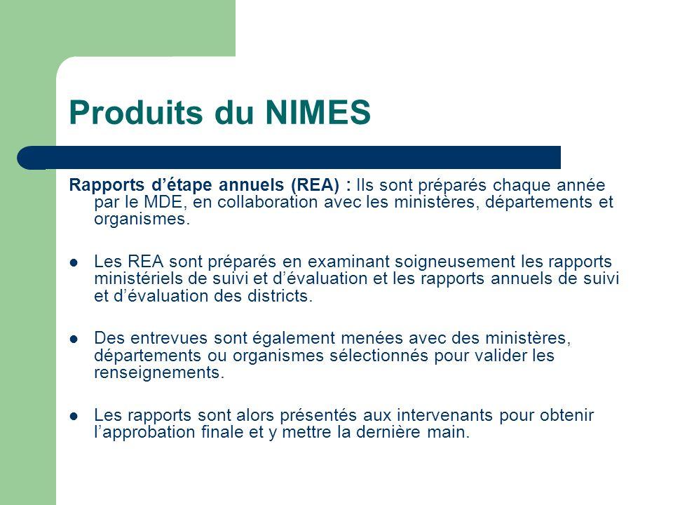 Produits du NIMES Rapports détape annuels (REA) : Ils sont préparés chaque année par le MDE, en collaboration avec les ministères, départements et org