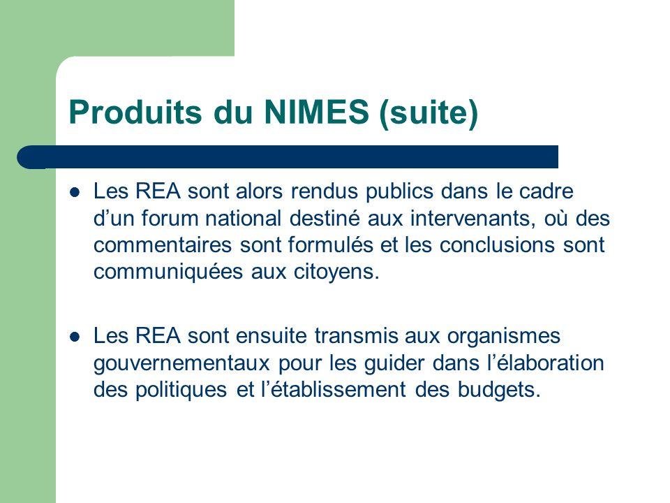 Produits du NIMES (suite) Les REA sont alors rendus publics dans le cadre dun forum national destiné aux intervenants, où des commentaires sont formul