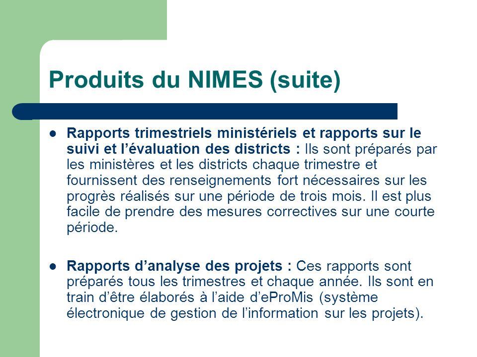 Produits du NIMES (suite) Rapports trimestriels ministériels et rapports sur le suivi et lévaluation des districts : Ils sont préparés par les ministè