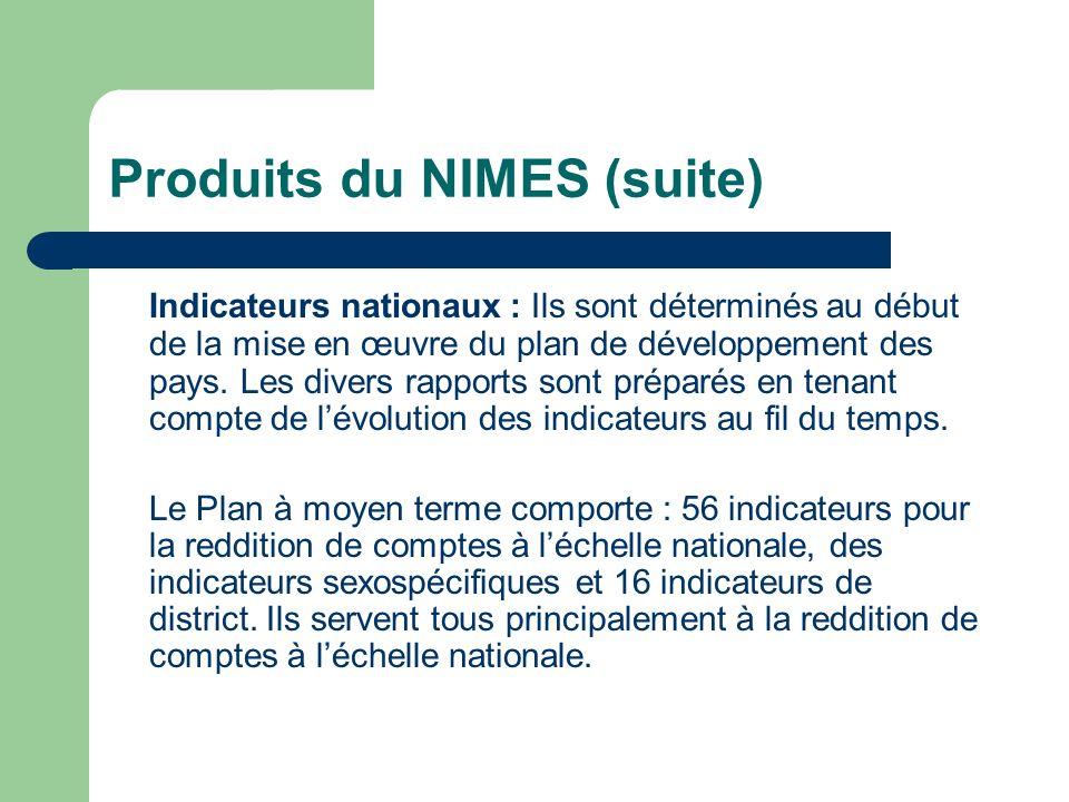 Produits du NIMES (suite) Indicateurs nationaux : Ils sont déterminés au début de la mise en œuvre du plan de développement des pays. Les divers rappo