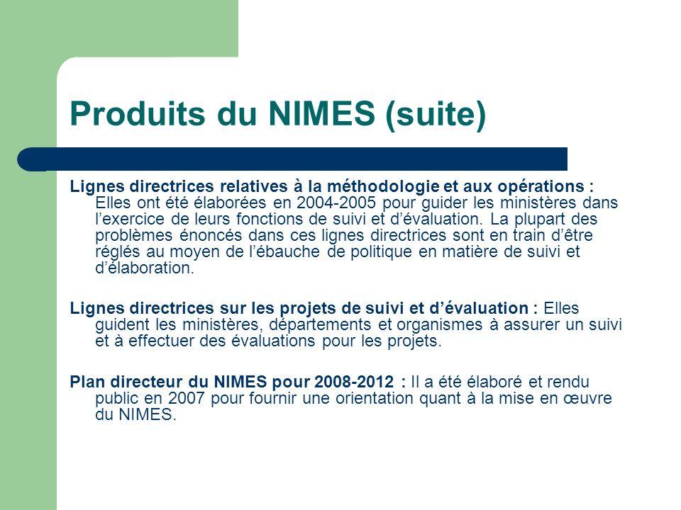 Produits du NIMES (suite) Lignes directrices relatives à la méthodologie et aux opérations : Elles ont été élaborées en 2004-2005 pour guider les mini