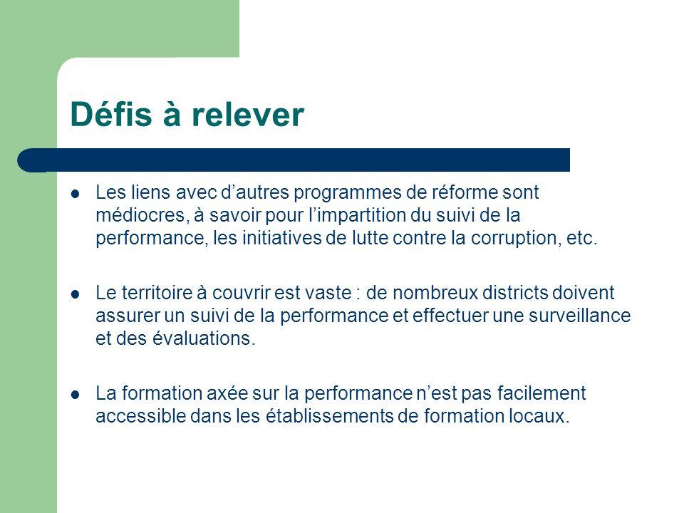 Défis à relever Les liens avec dautres programmes de réforme sont médiocres, à savoir pour limpartition du suivi de la performance, les initiatives de