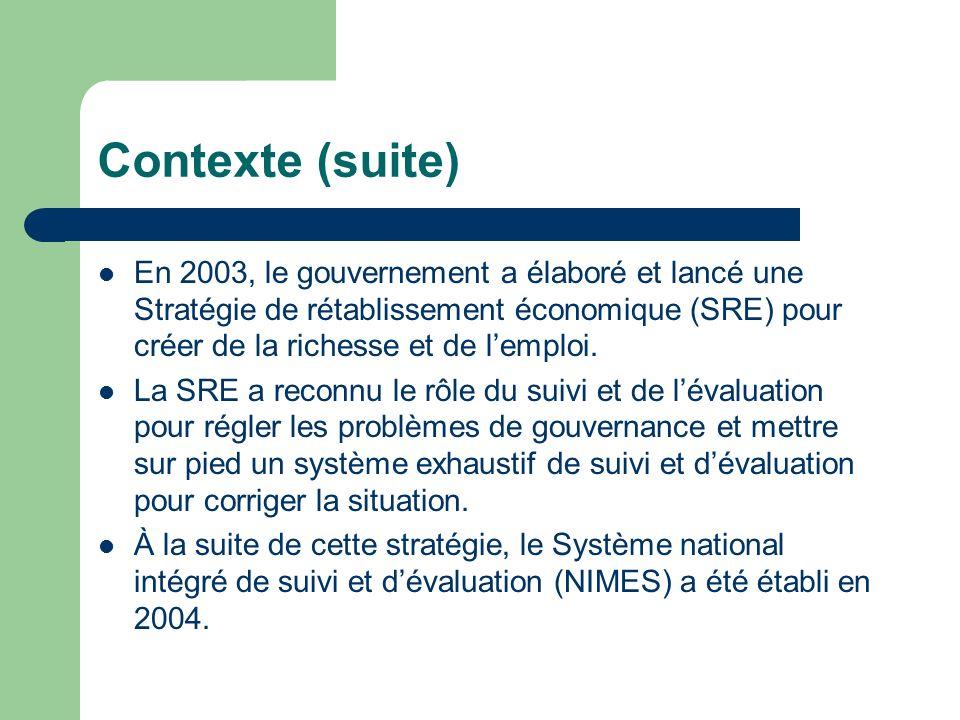 Contexte (suite) En 2003, le gouvernement a élaboré et lancé une Stratégie de rétablissement économique (SRE) pour créer de la richesse et de lemploi.