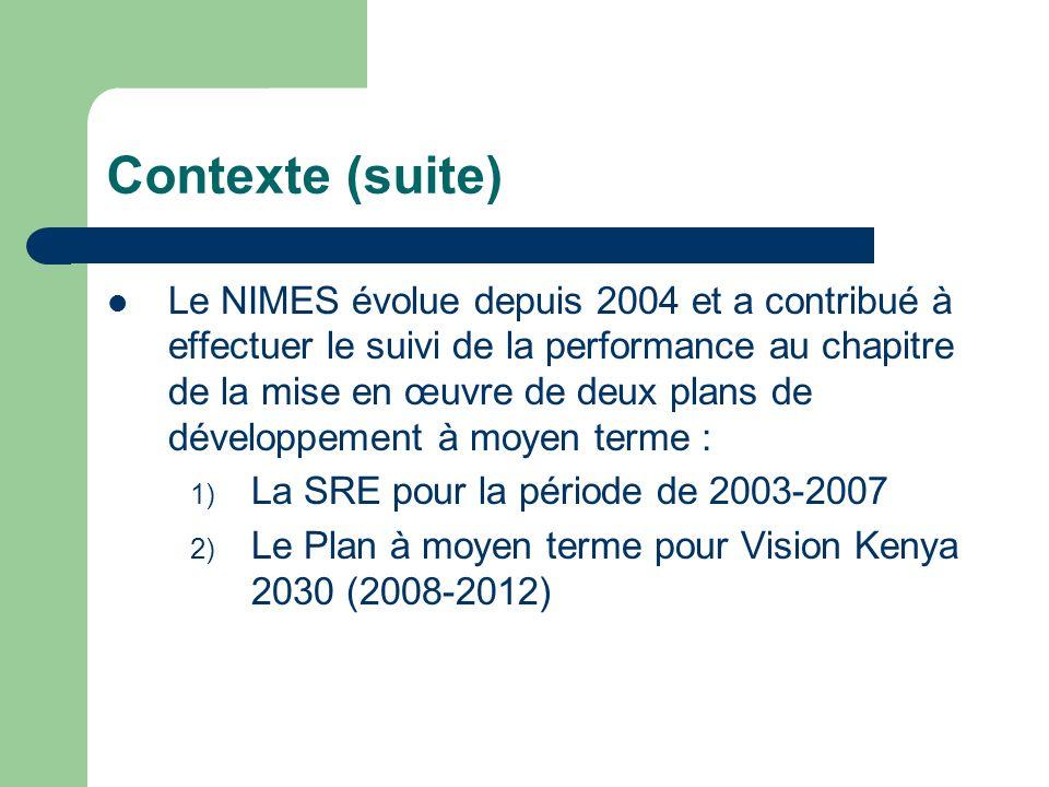 Contexte (suite) Le NIMES évolue depuis 2004 et a contribué à effectuer le suivi de la performance au chapitre de la mise en œuvre de deux plans de dé