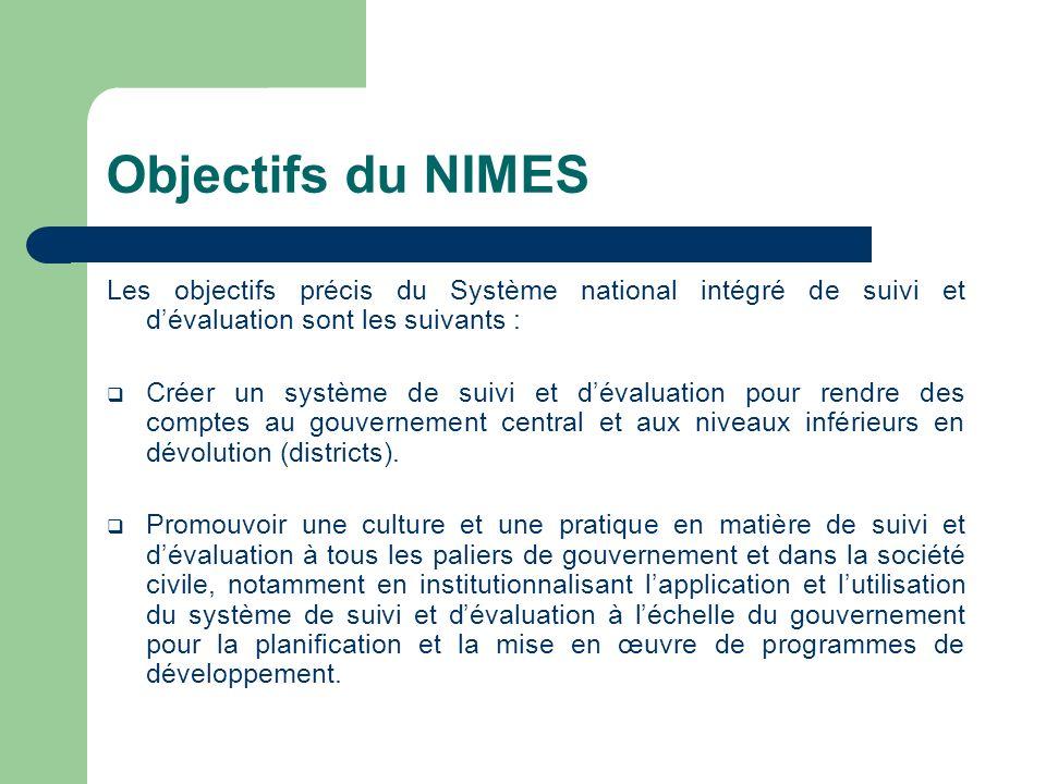 Objectifs du NIMES Les objectifs précis du Système national intégré de suivi et dévaluation sont les suivants : Créer un système de suivi et dévaluati