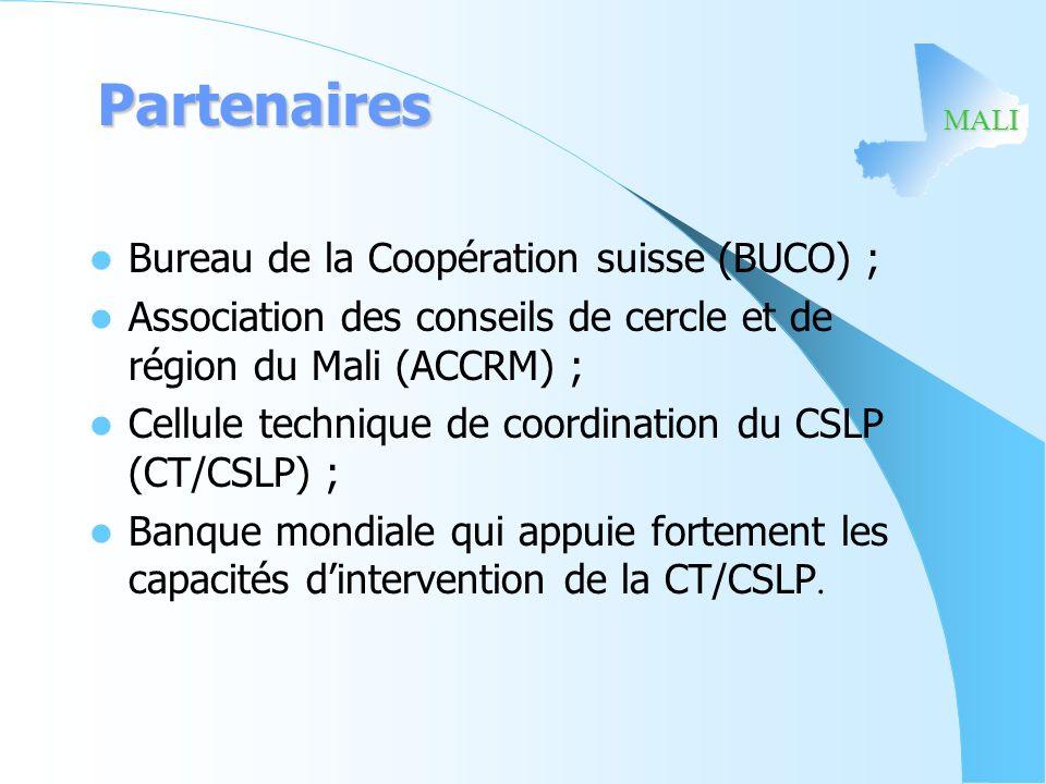 MALI Partenaires Bureau de la Coopération suisse (BUCO) ; Association des conseils de cercle et de région du Mali (ACCRM) ; Cellule technique de coord