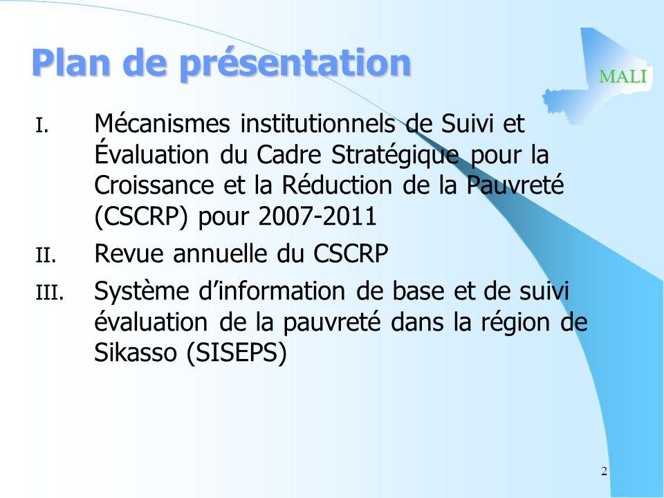 MALI Plan de présentation I. Mécanismes institutionnels de Suivi et Évaluation du Cadre Stratégique pour la Croissance et la Réduction de la Pauvreté