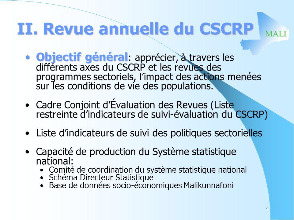 MALI II. Revue annuelle du CSCRP Objectif généralObjectif général : apprécier, à travers les différents axes du CSCRP et les revues des programmes sec