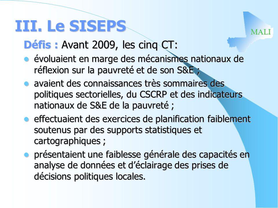 MALI III. Le SISEPS Défis : Avant 2009, les cinq CT: évoluaient en marge des mécanismes nationaux de réflexion sur la pauvreté et de son S&E ; évoluai