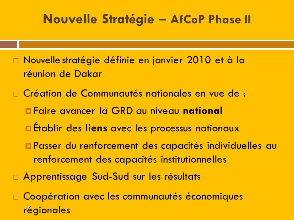 Nouvelle Stratégie – AfCoP Phase II Nouvelle stratégie définie en janvier 2010 et à la réunion de Dakar Création de Communautés nationales en vue de :