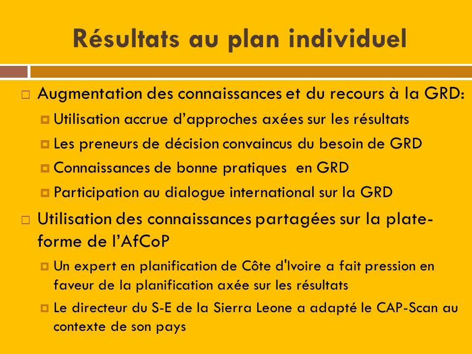 Résultats au plan individuel Augmentation des connaissances et du recours à la GRD: Utilisation accrue dapproches axées sur les résultats Les preneurs de décision convaincus du besoin de GRD Connaissances de bonne pratiques en GRD Participation au dialogue international sur la GRD Utilisation des connaissances partagées sur la plate- forme de lAfCoP Un expert en planification de Côte d Ivoire a fait pression en faveur de la planification axée sur les résultats Le directeur du S-E de la Sierra Leone a adapté le CAP-Scan au contexte de son pays