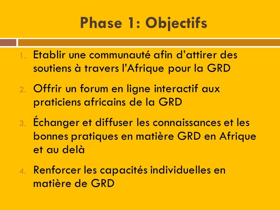 Phase 1: Objectifs 1. Etablir une communauté afin dattirer des soutiens à travers lAfrique pour la GRD 2. Offrir un forum en ligne interactif aux prat