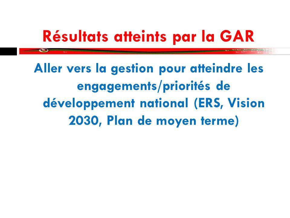 Résultats atteints par la GAR Aller vers la gestion pour atteindre les engagements/priorités de développement national (ERS, Vision 2030, Plan de moyen terme)