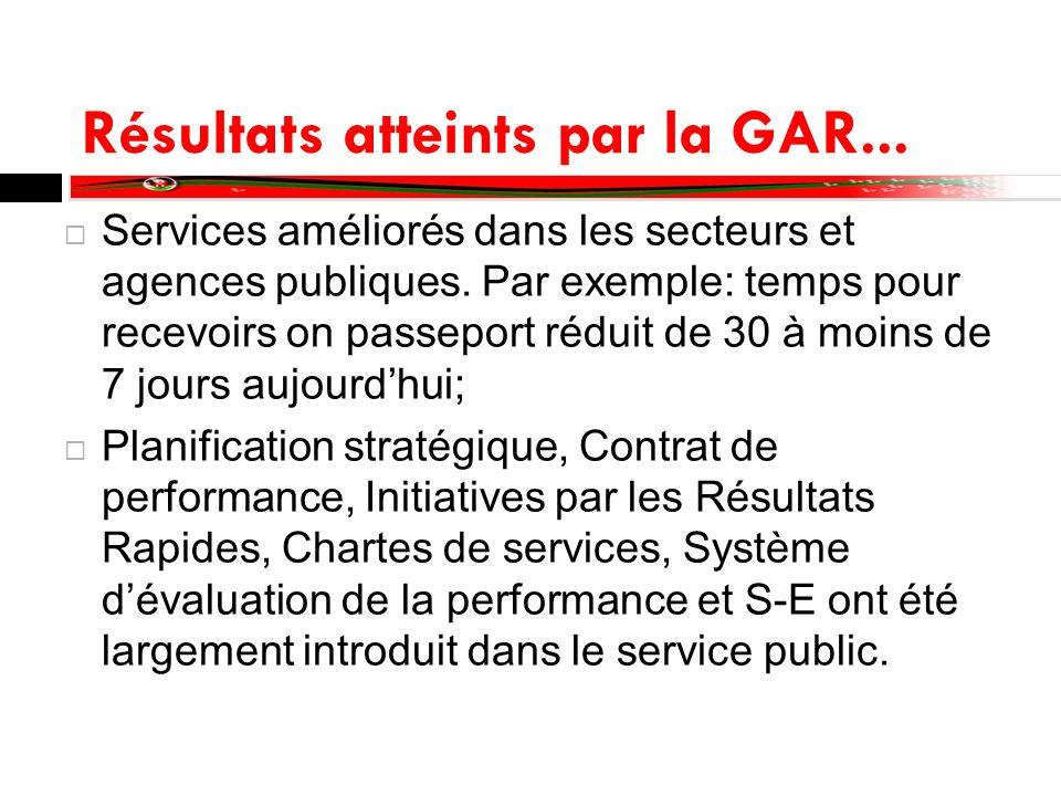 Résultats atteints par la GAR... Services améliorés dans les secteurs et agences publiques. Par exemple: temps pour recevoirs on passeport réduit de 3