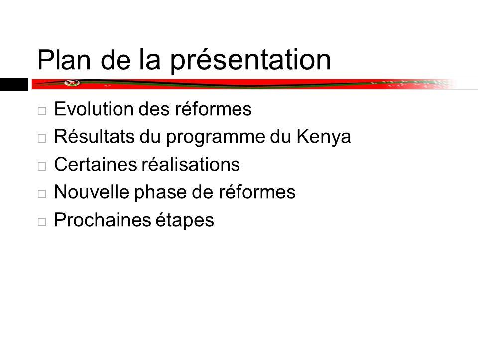 Plan de la présentation Evolution des réformes Résultats du programme du Kenya Certaines réalisations Nouvelle phase de réformes Prochaines étapes