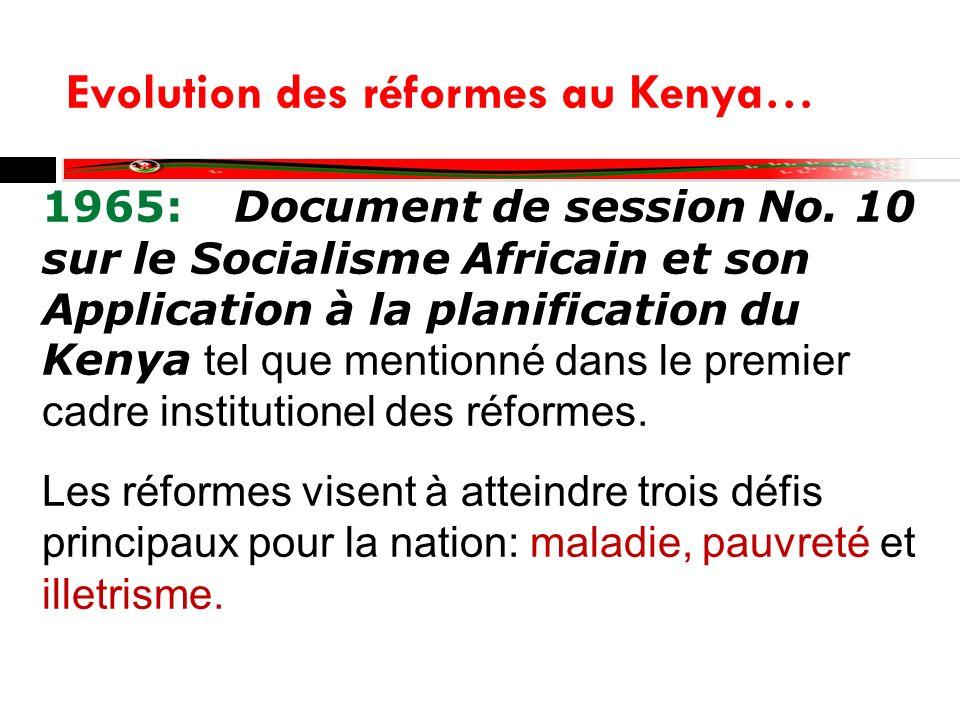 Evolution des réformes au Kenya… 1986: Document de session No.
