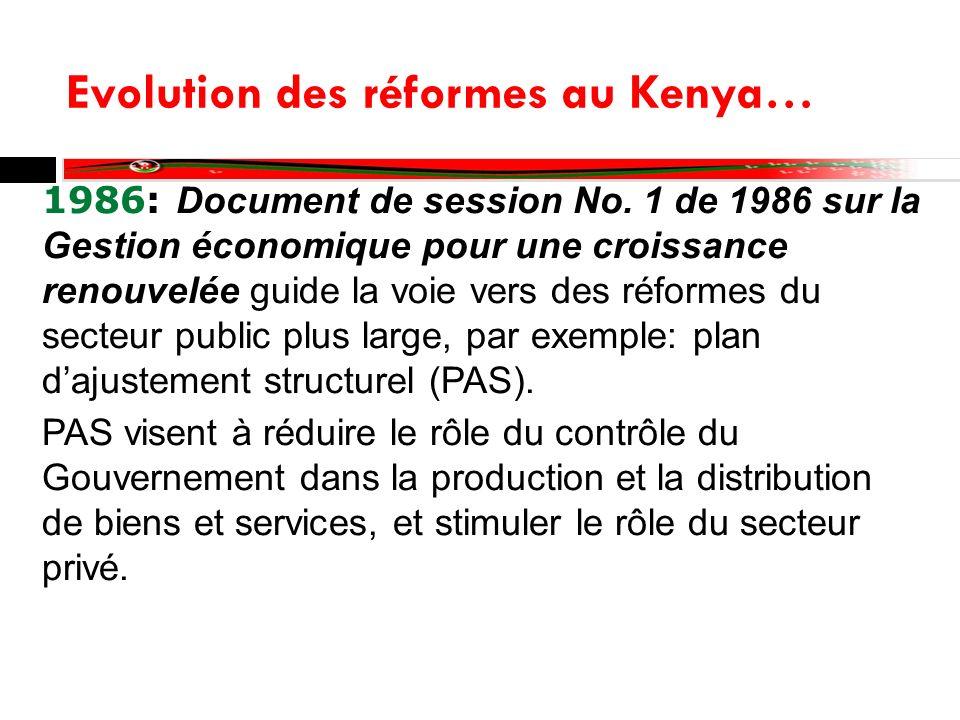 Evolution des réformes au Kenya… PAS reconnaissent limmense potentiel du secteur privé comme moteur de croissance, et de la éduction deffectifs pour réduire la grosse facture des salaires de la fonction publique Les PAS nétaient pas totalement réussis car ils ont entrainé un déclin de la croissance du PIB réel.