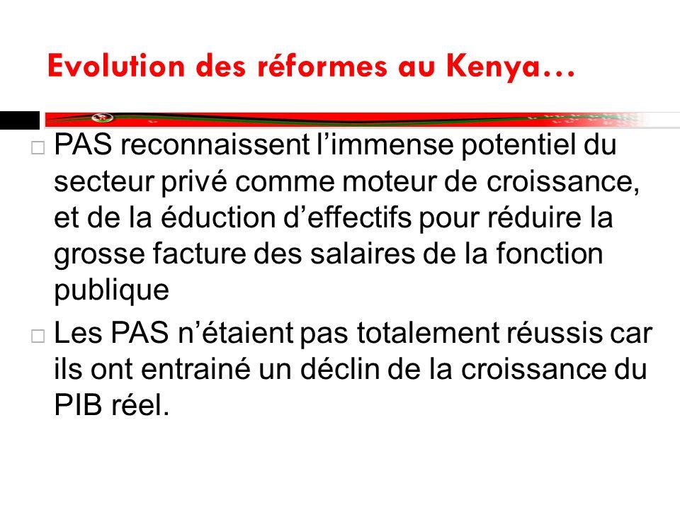 Evolution des réformes au Kenya… PAS reconnaissent limmense potentiel du secteur privé comme moteur de croissance, et de la éduction deffectifs pour r