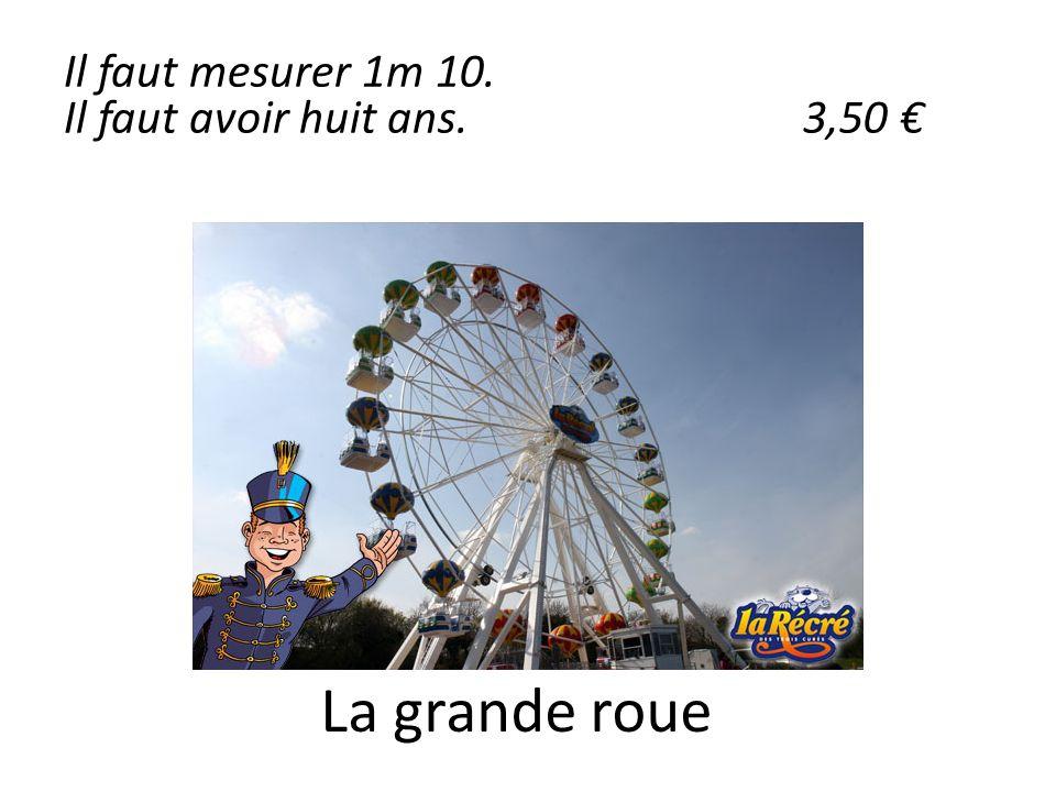 La grande roue Il faut mesurer 1m 10. Il faut avoir huit ans.3,50